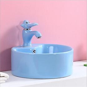Bộ chậu rửa tay trẻ em hình tròn, kèm vòi lavabo hình con voi, màu xanh dương