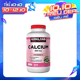 Thực phẩm chức năng Viên uống bổ sung Canxi 600mg và Vitamin D3 cho xương và răng - Kirkland Calcium 600mg With Vitamin D3 (500 Viên)