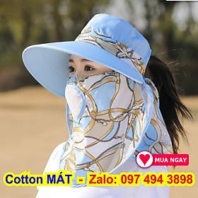 Nón chống nắng vải cotton cực đẹp và mát vành nón rộng che nắng mát có khẩu trang 2 lớp bảo vệ sức khỏe