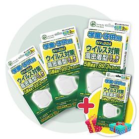 (Mua 3 tặng 1) Combo 3 hộp Khẩu trang trẻ em Virus Off - Ohki Nhật Bản thiết kế 3D ôm sát mặt NV-99A 3 miếng