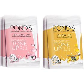 Combo 4 Mặt Nạ Sữa Dưỡng Trắng Nâng Tông Pond'S White Beauty Bright Up 25G/Miếng Và 4 Mặt Nạ Sữa Dưỡng Trắng Nâng Tông Và Căng Bóng Da Pond'S White Beauty Glow Up 25G/Miếng