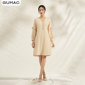 Đầm suông nữ thiết kế bèo tay GUMAC DA1171 chất liệu mềm mịn phong cách sang trọng