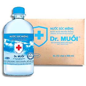 Thùng Nước Súc Miệng Dr. Muối Đủ Mùi 500ml (12 chai) - Hàng Chính Hãng
