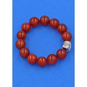 Vòng đeo tay đá Mã Não đỏ 14 ly cẩn hạt Phật A Di Đà inox bạc VMNONLT14 - hợp mệnh Hỏa, mệnh Thổ
