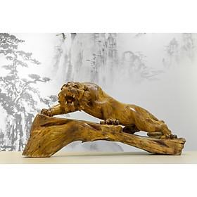 Tượng gỗ mỹ nghệ- Lão hổ săn mồi- Gỗ hương ta Gia Lai