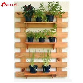 Kệ gỗ treo tường, kệ trang trí Anzzar, giá gỗ thông treo tường trang trí ban công, ngoại thất đẹp, treo cây, hoa