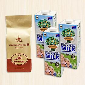 Combo 2 sản phẩm: Cà phê Nghé Robusta Nguyên Chất Số 1 (Túi 500g) và Sữa tươi nguyên chất nhập khẩu từ Úc - LemonTree (Hộp 1L)( 3 Hộp)