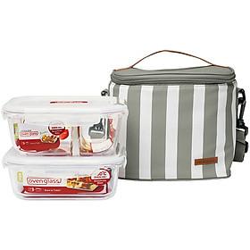 Bộ túi hộp cơm thủy tinh Lock&Lock 3EA LLG428S2