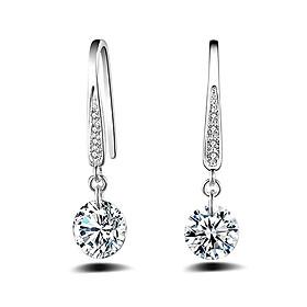 Hình đại diện sản phẩm Women Fashion 925 Sterling Silver Rhinestone Dangle Earrings Wedding Jewelry