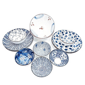 Bộ đồ ăn bằng sứ phong cách Nhật Bản 12 món (Hoa văn sắc xưa giả cổ) - Đồ dùng bàn ăn sang trọng