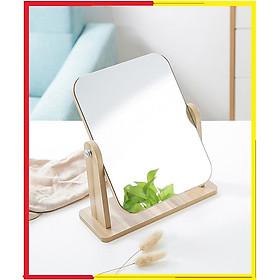 Gương soi trang điểm để bàn cao cấp xoay được 360 độ tiện dụng chất liệu gỗ ép chắc chắn kích thước 17 x 22 cm - Gương gỗ để bàn Trang Điểm