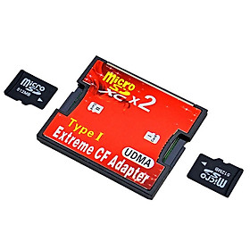 Dual Micro SD SDHC SDXC TF to CF Card Holder MicroSD Card Adapter Reader to Compact Type I Flash Card Reader
