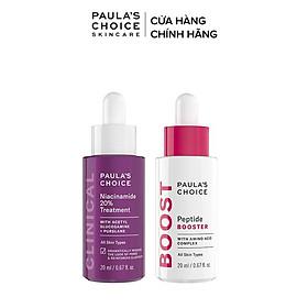 Bộ tinh chất tái tạo phục hồi da toàn diện Paula's Choice Niacinamide 20% 20ml và Peptide Booster 20ml Mã 8030.9550