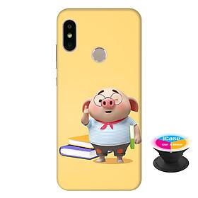 Ốp lưng nhựa dẻo dành cho Xiaomi Mi A2 in hình Heo Con Mọt Sách - Tặng Popsocket in logo iCase - Hàng Chính Hãng