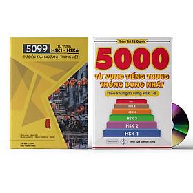 Combo 2 sách 5099 từ vựng HSK1 – HSK6 ( tam ngữ Anh – Trung – Việt ) ( Có Audio nghe ) + 5000 từ vựng tiếng Trung thông dụng nhất + DVD tài liệu