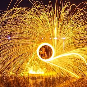 Bùi nhùi thép 1 mét - Steel wool - Vòng Xoáy lửa