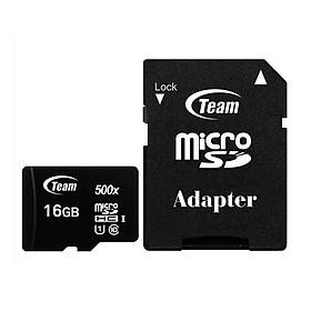 Thẻ nhớ 16gb micro SDHC CL10_U1 500X Team Adapter (Đen) - Hàng Chính Hãng