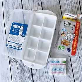 Combo khay trữ đông 8 ngăn Nakaya và bộ chia thức ăn Richell + tặng gói 100 tăm bông upass