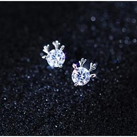 Khuyên tai  bạc xinh - Bông tai Bạc Nữ  925 hình sừng nai đính đá xinh