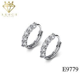 Khuyên tai bạc Ý s925 bông tròn nạm đá cao cấp E9779 - AROCH Jewelry
