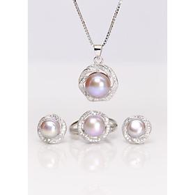 Bộ trang sức Ngọc Trai Thiên Nhiên T4 Màu Tím Bảo Ngọc Jewelry (KHÔNG LẮC TAY)
