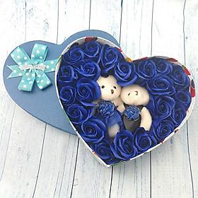 Quà tặng sinh nhật, 8/3 cho bạn gái - hoa hồng sáp hộp tim 2 gấu, màu xanh - H2X