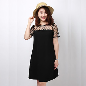 Đầm bầu, váy bầu đen cổ ren chấm bi thời trang