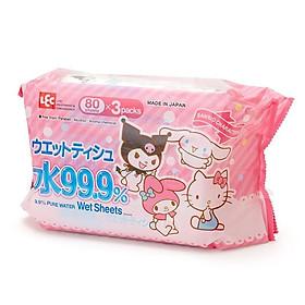 Combo 3 Khăn Ướt Nhật LEC 99.9% nước tinh khiết E90345 Sanrio (80 Tờ x 3)