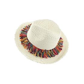 Hình đại diện sản phẩm Mũ cói đi biển panama tua rua nhiều màu sắc cho bé