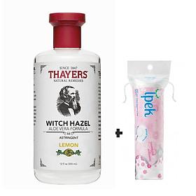 Nước hoa hồng hương chanh THAYERS Lemon Witch Hazel Astringent 355ml + Túi Bông Tẩy trang Ipek 80 miếng