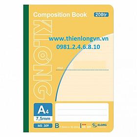 Sổ may dán gáy A4 - 200 trang; Klong 309 bìa vàng