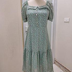 Váy cho con bú cổ U 2020 hot hit, đầm cho con ti chất voan mềm mịn che khóa tuyệt đối