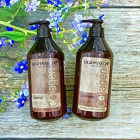Cặp dầu gội xả Top Haneda Collagen Shampoo & Conditioner phục hồi siêu mượt tóc 500ml - Hàng chính hãng-0