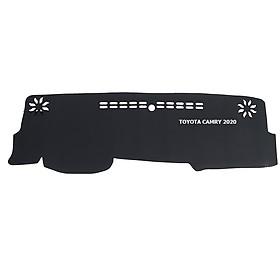 Thảm da Taplo vân Carbon Cao cấp dành cho xe Toyota Camry 2020 có khắc chữ Toyota Camry và cắt bằng máy lazer