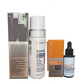 Combo Serum mờ nám, tàn nhang Essence Peptide 20ml Và Mặt nạ thải độc sạch da Detox Mask 150ml Detox Blanc