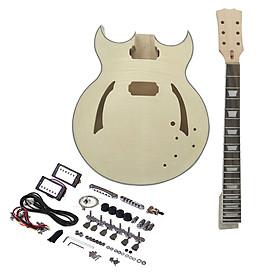 Bộ Lắp Ráp Đàn Guitar Điện Tử Muslady DIY Gồm Thân Đàn Gỗ Trầm, Cổ Đàn Gỗ Hồng Sắc, Bàn Phím Hợp Âm