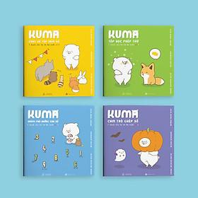 Sách ehon Nhật Bản: Bộ 4 cuốn Kuma làm quen với môn Toán