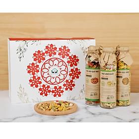 Hộp quà tặng trà hoa cao cấp - Set 3: Trà hoa cúc vàng, Hoa quả Bali, Hoa nhài