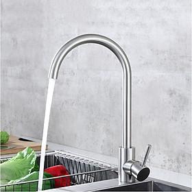 Vòi bếp rửa chén bát nóng lạnh inox 304 cong- tặng kèm dây cấp nước nóng lạnh 304 60cm