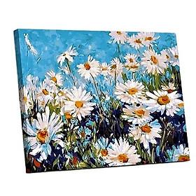 Tranh sơn dầu số hoá tự vẽ đã căn khung 40x50 cm - Hoa cúc dại E886
