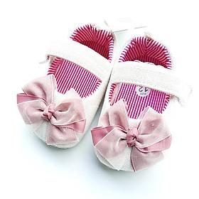 Giày Tập Đi Cho Bé Gái Vải Cotton mềm mại không đau chân, đế Simili chống trơn trượt , màu trắng nơ hồng cho bé từ 0 - 15 tháng