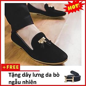 Giày Lười Nam Đẹp Đế Khâu Chuông Vàng Da Búc Màu Đen Sang Trọng - M124-BUCK(TL)-BUCK