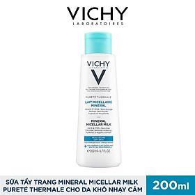 Sữa Tẩy Trang Vichy Mineral Micellar Milk Pureté Thermale Cho Da Khô Nhạy Cảm 200ml