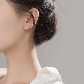 Bông tai bạc nữ Khuyên tai bạc nữ trái tim dạng xỏ
