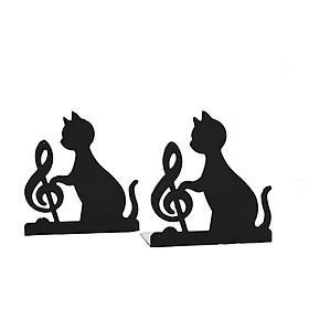 Giá Chặn Sách Kim Loại Hình Mèo Đáng Yêu Và Âm Nhạc (Bộ 2 Cái)