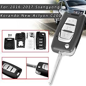 3 Button Key Case Fob Blade For SsangYong Korando / New Actyon / C200 16-2017
