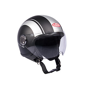Mũ Bảo Hiểm Andes 3/4 Đầu Có Kính - 3S103D Tem Nhám W331 - Đen Phối Bạc