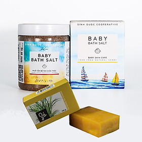 Muối tắm bé Tâm Dược Thảo (Hộp 400g) 100% tự nhiên + Tặng kèm 01 Xà bông thảo dược (Tùy chọn)