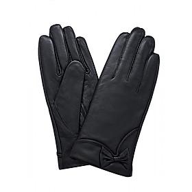Găng tay nữ da dê thật cao cấp màu đen EGW129