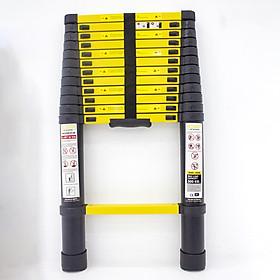 Thang nhôm rút gọn SUMIKA SKS380 - Chiều cao tối đa 3.8m, sơn tĩnh điện, chống trầy xước, khóa chốt cao cấp, đế cao su chống trượt, bậc thang diện tích rộng, nhỏ gọn, tiện lợi di chuyển